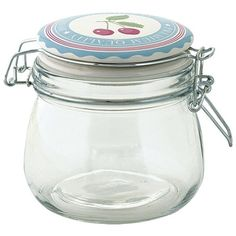 GreenGate Glass Storage Jar 500 ml - Cherry Pale Blue ($10) ❤ liked on Polyvore featuring home, kitchen & dining, food storage containers, glass food storage containers, greengate and glass storage jars