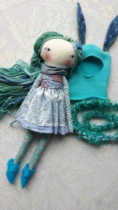 blue bunny lu girl doll  14ish handmade cloth girl by humbletoys
