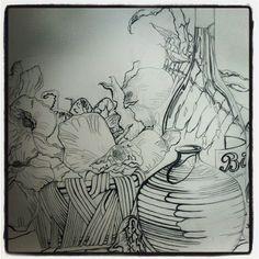 still life, line drawing