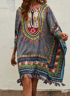 Dress - $20.60 - Rayon Color Block 3/4 Sleeves Mini Elegant Dresses (1955124649)