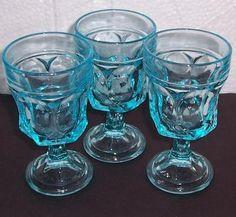(3) Fostoria Turquoise Ice Blue Depression Water Glasses