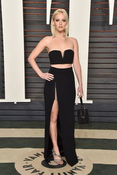 Jennifer Lawrence look Alexander Wang Oscar 2016 - party cropped