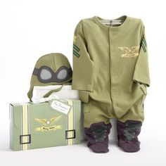 Baby Aspen, Big Dreamzzz Baby Pilot Two-Piece Layette Set is BABY PILOT UNIFORM - Adorable, olive-green pilot-style bodysuit with black and gold accents and coordinating cap. Body go well with has navy stars and Baby Set, Baby Gift Sets, Baby Gifts, Baby Presents, Kids Gifts, Newborn Halloween Costumes, Baby Costumes, Costume Halloween, Halloween Fun