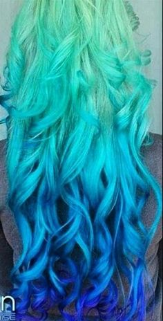 Green blue ombre pastel dyed hair