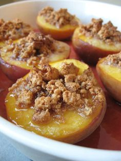 Baked Peaches with Amaretti Cookie Crumble