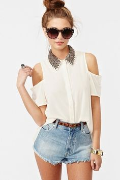 An adorable sheer studded blouse from Nasty Gal!
