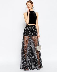 Image 1 of ASOS Sheer Maxi Skirt with Flocked Flowers