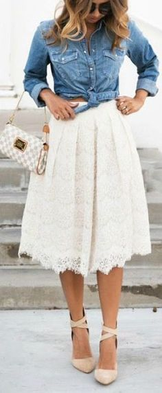 Cute fall outfit. Lace skirt with a casual denim top. Great combination.
