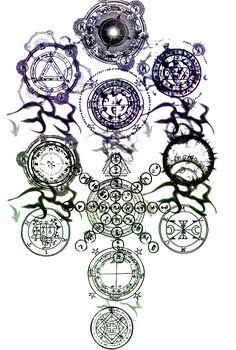 sephiroth tree by popstheclockmaker on DeviantArt Tattoo Drawings, Body Art Tattoos, Sacred Geometry Art, Magic Symbols, Magic Circle, Fantasy Weapons, Symbolic Tattoos, Dark Art, Fantasy Art