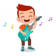 Kids Cartoon Characters, Cartoon Kids, Video Game Logos, Music Illustration, Kids English, Kids Class, Music For Kids, Happy Kids, Playing Guitar