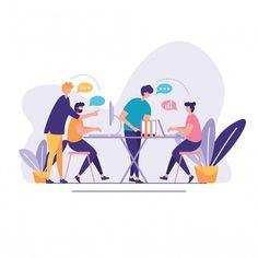 Discussion social network illustration Vector | Premium Download Flat Design Illustration, Simple Illustration, Character Illustration, Graphic Illustration, Vector Character, Character Design, Up Book, Web Layout, Art Deco Design