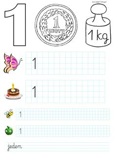 CYFRY 1, 2 - KARTY PRACY | BLOG EDUKACYJNY DLA DZIECI School Frame, Kids And Parenting, Worksheets, Coloring Pages, Maths, Blog, Therapy, School, Cuba