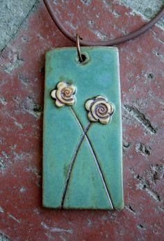 Rustic Flower Duet Porcelain Pendant by muddyfingers on Etsy