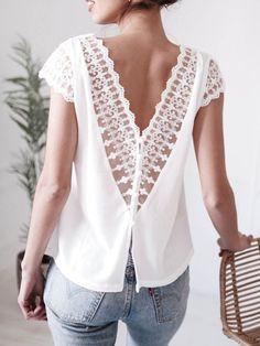 dff0a2ed4 V-Neck Decorative Lace Plain Sleeveless #Blouse #laceblouse #whiteblouse  #summerblouse #