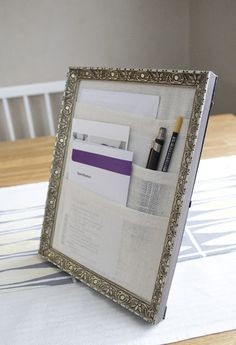 Turn a picture frame into a tabletop organizer! #DIY