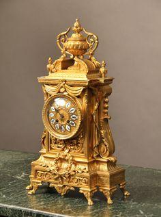 Late 19th Century Gilt Bronze Mantle Clock Wall Clock Brands, Wall Clock Online, Antique Clocks, Vintage Clocks, Unusual Clocks, Classic Clocks, Retro Clock, Timer Clock, Mantel Clocks
