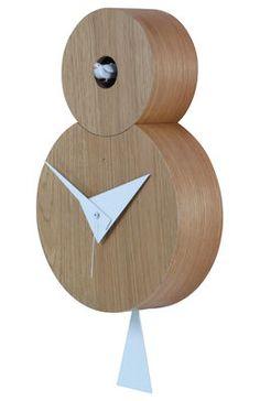 Horloge murale Otto à coucou / H 38,5 cm Chêne naturel - Coucou, pendule & aiguilles blancs - Diamantini & Domeniconi