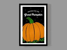 Peanuts Halloween Holiday - Waiting for the Great Pumpkin - Festive Halloween Wall Art Poster by MusicAndArtCoUSA on Etsy