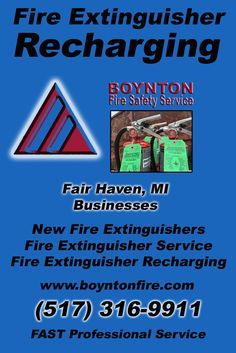 Fire Extinguisher Recharging Fair Haven, MI.  (517) 316-9911 Check out Boynton Fire Safety Service.. The Complete Source for Fire Protection in Michigan. Call us Today!