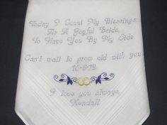Personalized Wedding Handkerchief Free Gift by elegantmonogramming, $24.00