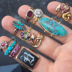 Saturday stackin'  We have so many new antique and @bcejewelry rings in the shop. #antiquerings #showmeyourrings #turquoise #keepersoftheold