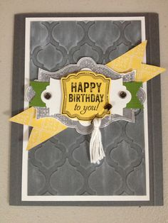 Stampin Up Card Birthday I Love The Way Yellow Piece Is NOT Straight
