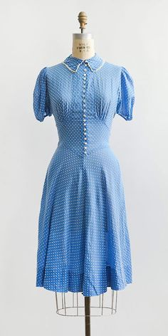 vintage 1930s sky blue flocked swiss dots dress | Adored Vintage