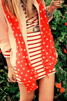 Late Afternoon, Polka, Stripes, Red