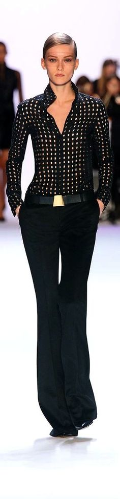 Akris Inspiration look - CAbi fall pinstripe trouser, pointelle sweater with tailored shirt and signature buckle