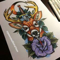 #art #draw #illustration #drawing #pen #marker #sketch #sketchbook #paper #tattooart #tattoo #neotraditional #putsomestankonit #copic #copicart #copicmarkers #markers #deer #deertattoo