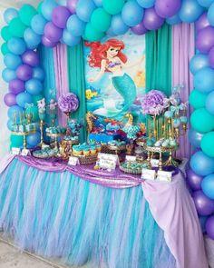 Little Mermaid Centerpieces, Mermaid Party Decorations, Girl Birthday Decorations, Mermaid Birthday Cakes, Little Mermaid Birthday, Little Mermaid Parties, 1st Birthday Parties, 4th Birthday, Party Ideas