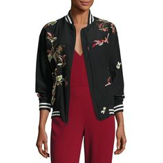 Alice + Olivia Lila Embroidered Bomber Jacket (13,775 MXN) ❤ liked on Polyvore featuring outerwear, jackets, multi, lined bomber jacket, zip front jacket, floral jacket, flight jacket and floral print bomber jacket