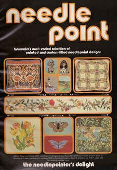 Needlepoint Designs, Needlepoint Kits, Vintage Embroidery, Go Shopping, Fall Crafts, Needlework, Fall Winter, Retro, Autumn Crafts