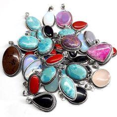 New 50 Pcs Multi Mix Gemstones .925 Silver Overlay Pendant Necklace Jewelry #Unbranded #Pendant