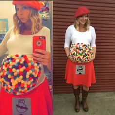 Pregnant costumes Halloween Pregnant Costume, Diy Funny Halloween Costumes, Halloween Costumes For Teachers Easy, Gumball Machine Halloween Costume, Family Costumes For 3, Gumball Costume, Holloween Costumes For Kids, Easy Homemade Halloween Costumes, Halloween Outfits