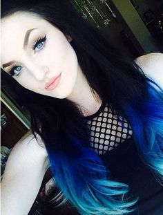 How to Dye your Ideal Blue Ombre Hair Color for 2015 Summer - Ombre Hair Color, Hair Color For Black Hair, Love Hair, Gorgeous Hair, Blue Ombre, Hair Colors, Diy Hairstyles, Pretty Hairstyles, Cabello Hair