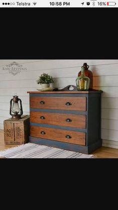 Antique restored hardwood chest of drawers. Painted in navy chalk paint, and polished timber. furniture redo furniture diy Antique restored hardwood chest of drawers. Painted in navy chalk paint, and polished timber. Refurbished Furniture, Paint Furniture, Repurposed Furniture, Furniture Projects, Rustic Furniture, Furniture Makeover, Timber Furniture, Furniture Stores, Vintage Furniture