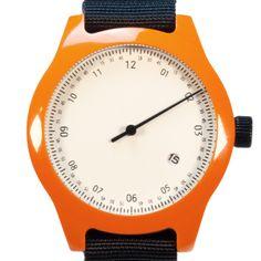 Minuteman One Hand (orange) watch by squarestreet. Available at Dezeen Watch Store: www.dezeenwatchstore.com