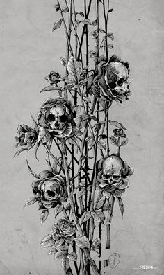 """ Pollution - Skull Roses by Noia illustration on Behance. Ink on paper. Kunst Tattoos, Skull Tattoos, Tattoo Drawings, Art Drawings, Tatoos, Tattoo Crane, Illustrator, Totenkopf Tattoos, Skeleton Art"