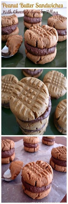 Classic soft 'n' chewy peanut butter cookies with a creamy chocolate ganache filling sandwiched in between. | wholeandheavenlyoven.com