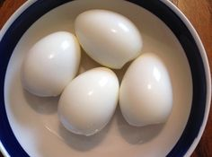 Perfect Hard Boiled Eggs (Easy Peeling) Add baking soda to water, boil 2-3 minutes, let sit 10 minutes in hot water (covered). Cold bath, peel.
