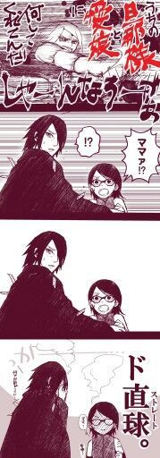 """MOM CAN DO THAT!?"" Not sure what it says, but sarada's facial expression was everything"