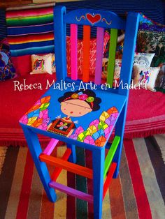 Our goal is to keep old friends, ex-classmates, neighbors and colleagues in touch. Hand Painted Chairs, Whimsical Painted Furniture, Hand Painted Furniture, Funky Furniture, Colorful Furniture, Art Furniture, Furniture Makeover, Painted Stools, Painted Tables