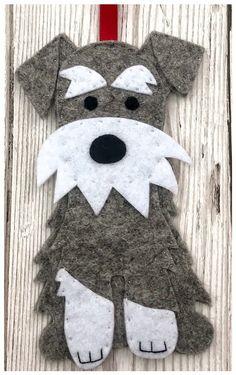 Schnauzer felt Christmas decoration ornament by FeltBuntingandMore on Etsy Felt Christmas Decorations, Felt Christmas Ornaments, Etsy Christmas, Christmas Tree, Christmas Stockings, Felt Crafts, Fabric Crafts, Sewing Crafts, Felt Patterns