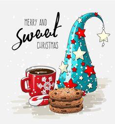 merry and sweet xmas-Tatyana Ivanova Christmas Mood, Noel Christmas, Christmas Clipart, Christmas Wishes, Christmas Pictures, Christmas Greetings, Vintage Christmas, Christmas Crafts, Christmas Decorations