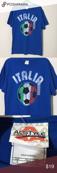 "NWT Men's Alstyle Italia Blue Soccer T Shirt Sz L New with tags Men's Alstyle Italia soccer t shirt. Size L 22"" armpit to armpit, 29.5"" shoulder to hem. Shirts Tees - Short Sleeve"