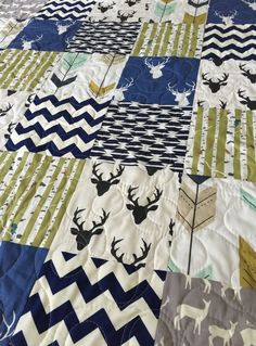 Baby Quilt Boy Southwest Bow and Arrow Stag by CoolSpool on Etsy