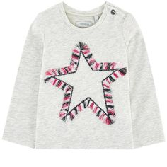 Cotton and elastane jersey Crew neck Long sleeves Snap buttons on the shoulder Fancy sequins Embroidered star Small logo patch on the heels - $ 44