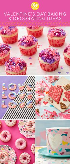 Love is in the air! From cookies and cupcakes to candies and donuts, these Valentine's Day projects and recipes are a great way to show your loved ones how much you care. Perfect for gifting, snacking and especially sharing, these treats are sprinkled with love! #wiltoncakes #valentinesday #desserts #dessertideas #homemade #baking #cakes #cookies #candy #treats #sweets #recipes #candymelts #sprinkles Cute Valentine Ideas, Valentines Day Desserts, Valentine Treats, Wilton Cake Decorating, Cake Decorating Tools, Baking Cakes, Wilton Cakes, Buttercream Icing, Desserts To Make
