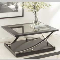 Ramsey Ebony Square Cocktail Table - The Home Depot Lane Furniture, Iron Furniture, Steel Furniture, Unique Furniture, Furniture Design, Unique Coffee Table, Glass Top Coffee Table, Coffe Table, Coffee Table Design